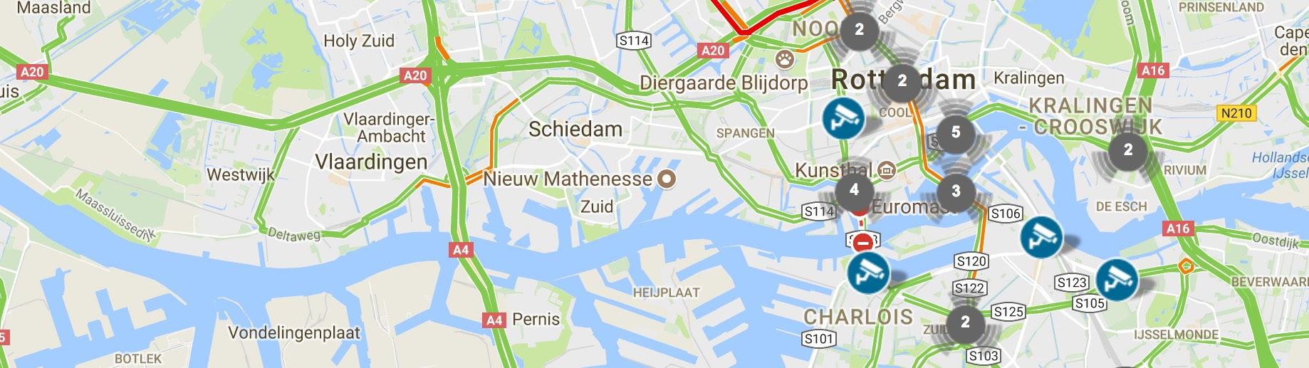 Volg live het Rotterdamse verkeer